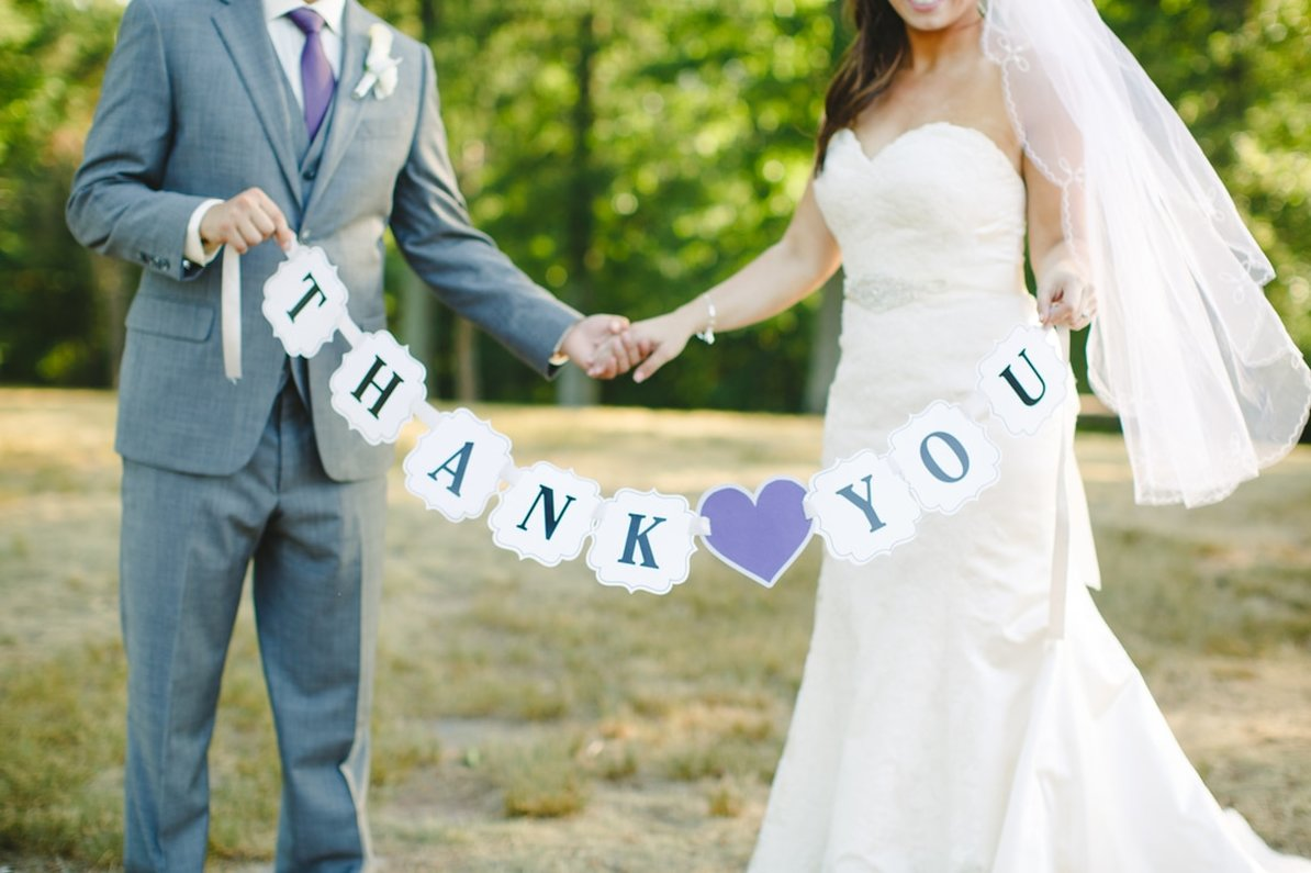 bride and groom thank you sign