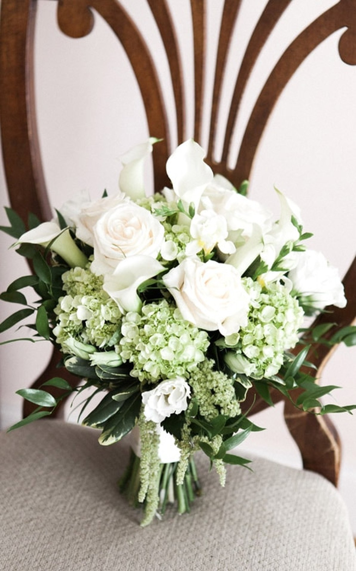 White Roses and Greenery Bridal Bouquet Connecticut Wedding Planner Double G Events