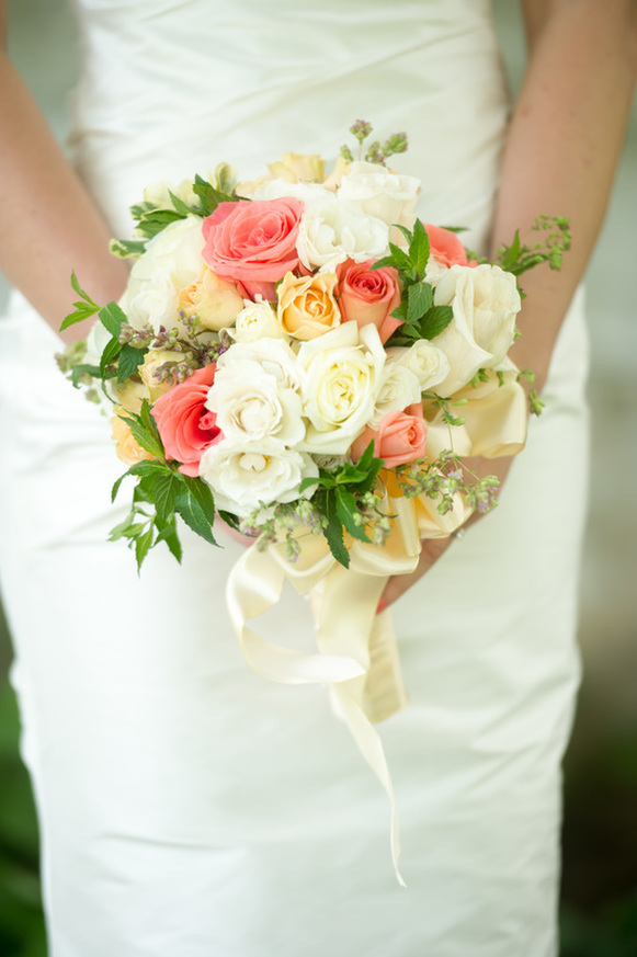 Coral Pastel Colored Wedding Bouquet