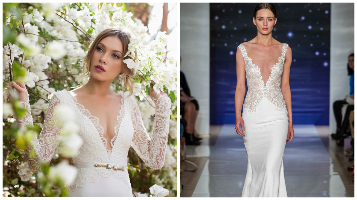 Plunging Neckline Wedding Dresses