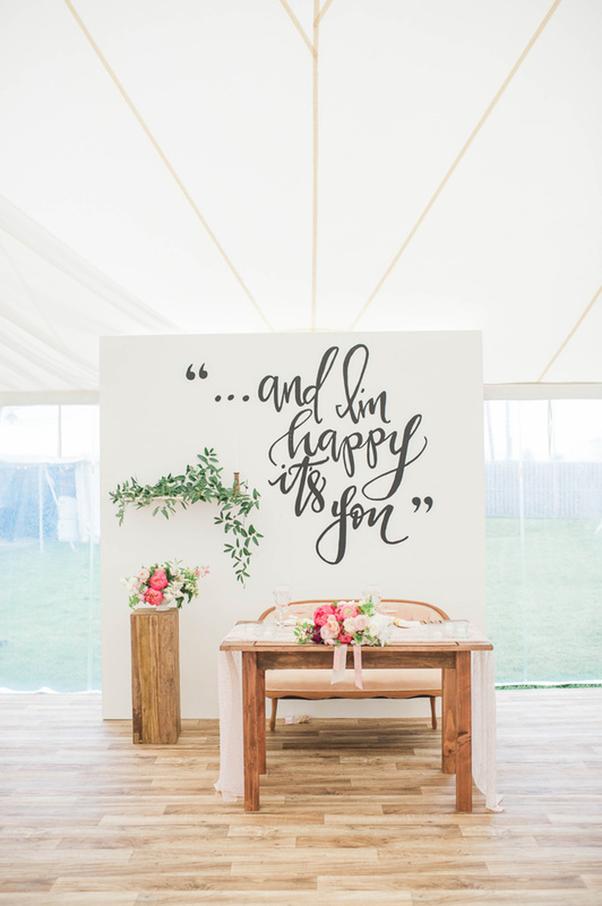 Outdoor Wedding Sweetheart Table Design and Backdrop