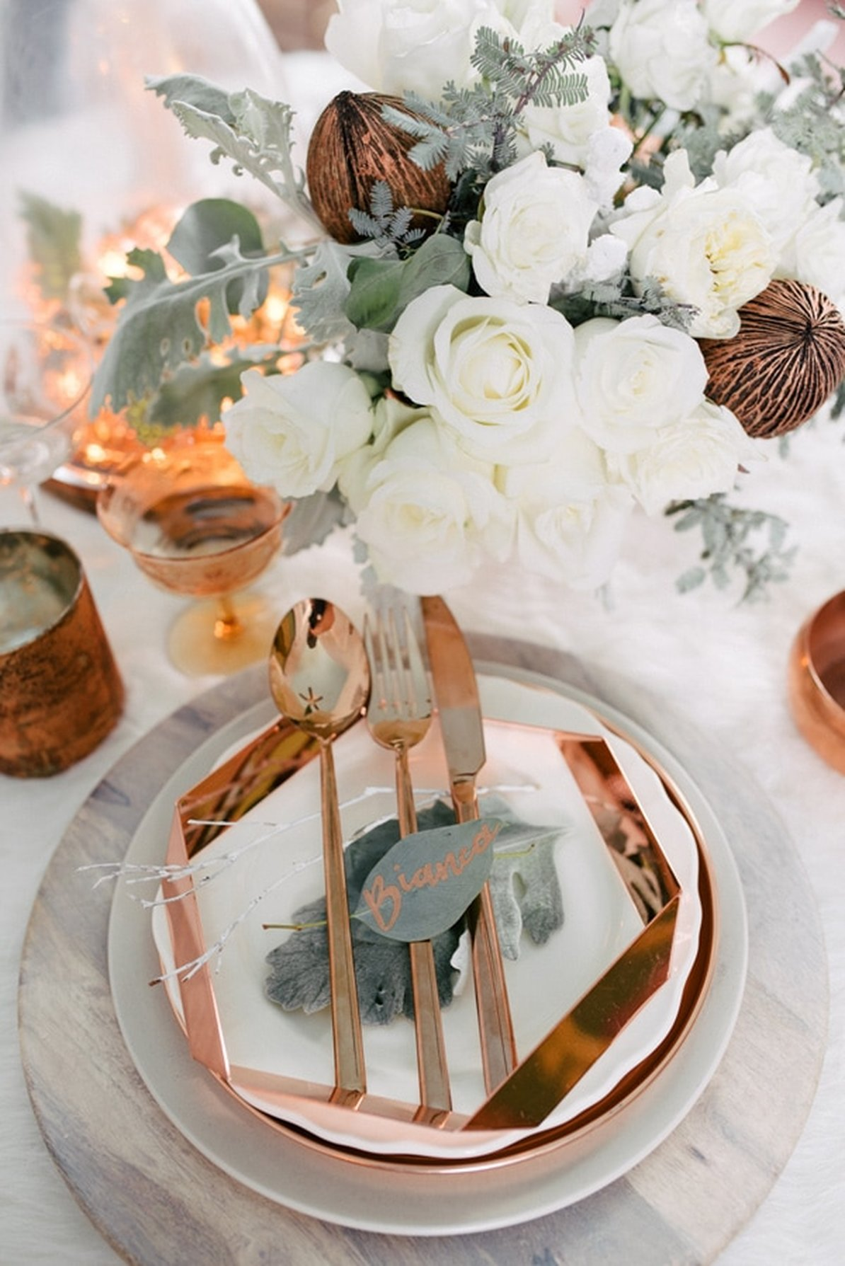 Copper, marble and geometric wedding place setting
