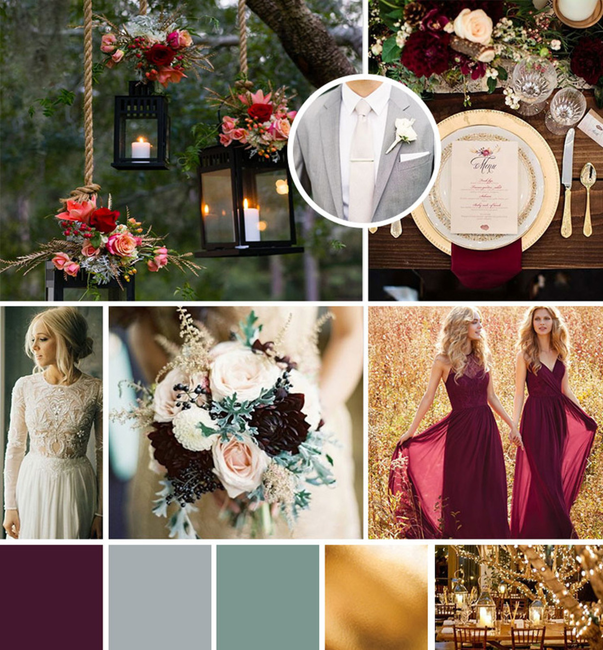 Burgundy Grey Gold Wedding Mood Board Inspiration