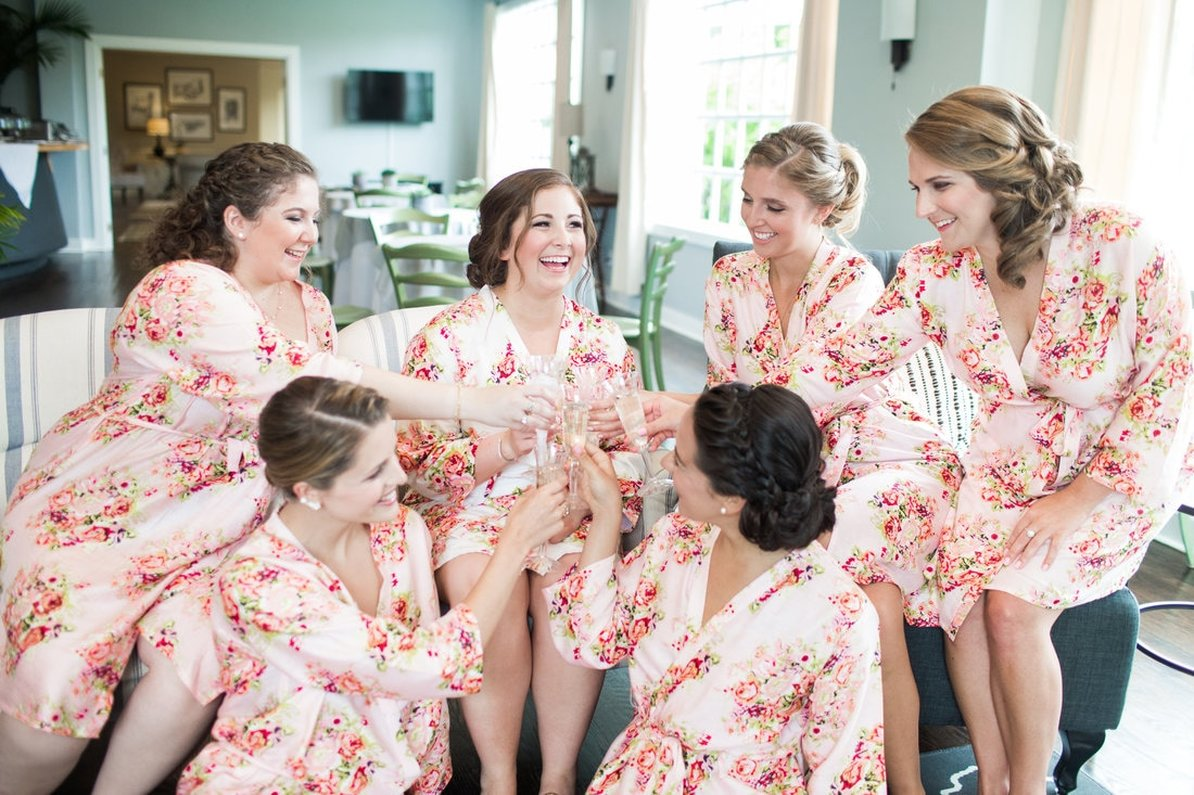 bridesmaids getting ready toast